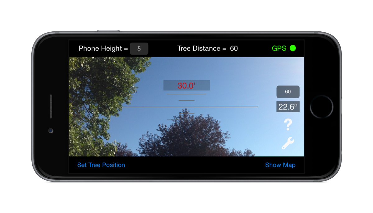 Timber Tree Height Estimator on iPhone